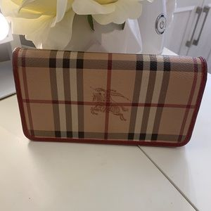 Authentic Burberry long wallet /red interior